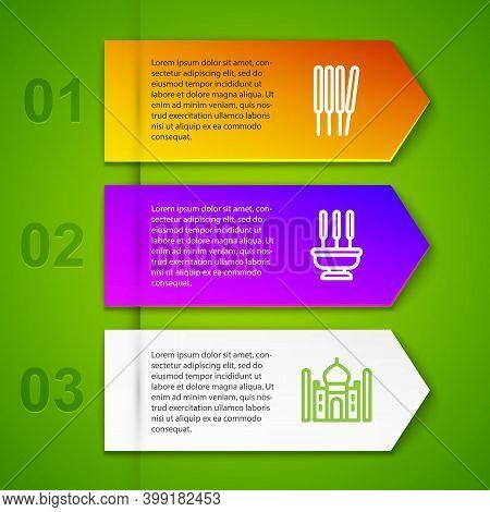 Set Line Aroma Sticks, Incense, Incense, Taj Mahal And Indian Man Plays Flute. Business Infographic