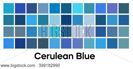 Modern Blue Color, Vector Palette Set. Cerulean Blue, Indigo And Turquoise Tones Template Collection