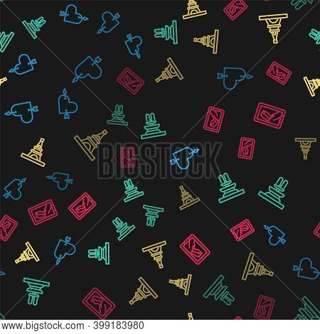 Set Line Amour With Heart And Arrow, Fountain, Eiffel Tower And Portrait Museum On Seamless Pattern.