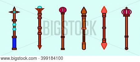 Set Of Sceptre Cartoon Icon Design Template With Various Models. Modern Vector Illustration Isolated