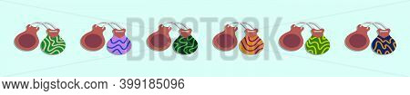 Set Of Castanet Cartoon Icon Design Template With Various Models. Modern Vector Illustration Isolate