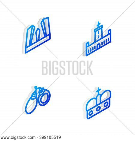 Set Isometric Line Montjuic Castle, Gate Of Europe, Castanets And Crown Spain Icon. Vector
