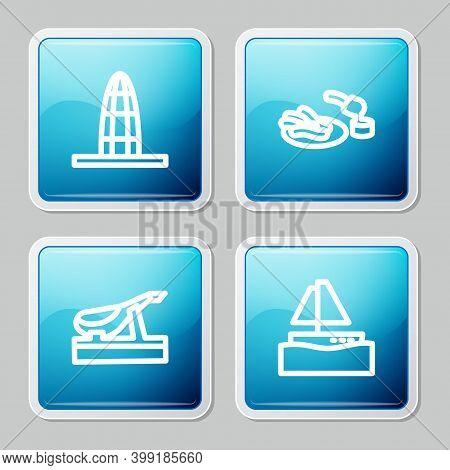 Set Line Agbar Tower, Churros And Chocolate, Spanish Jamon And Yacht Sailboat Icon. Vector