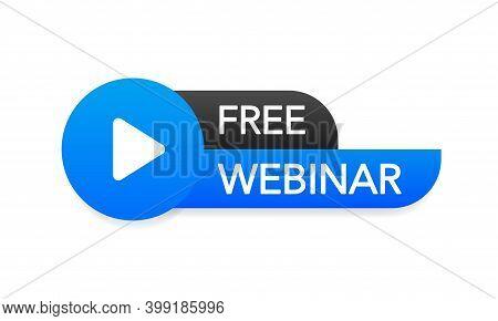 Free Webinar Button, Icon. Vector Stock Design