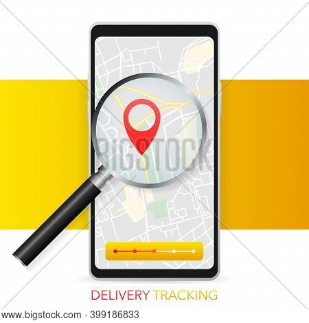 Geo Map And Zoom Lens. Delivery Tracking. City Map On Color Background. Mobile App. Vector Illustrat