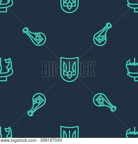 Set Line Ukrainian Trident, Bandura And Monument To Founders Of Kiev On Seamless Pattern. Vector