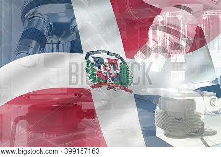 Microscope On Dominican Republic Flag - Science Development Conceptual Background. Research In Bioch