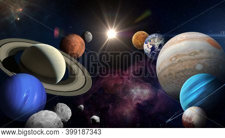 Solar System Planet, Sun And Star. Sun, Mercury, Venus, Planet Earth, Mars, Jupiter, Saturn, Uranus,