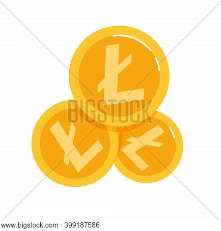 Litecoin. Blockchain Technologies, Altcoins, Digital Money Market, A Bunch Of Cryptocurrency Coins.