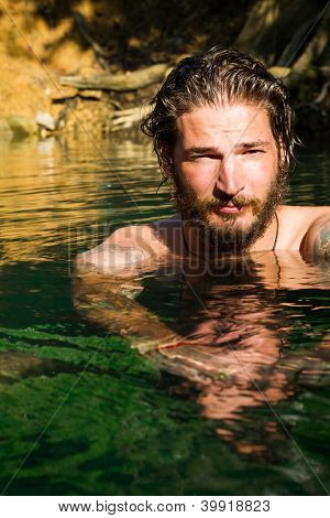 young man in water
