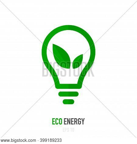 Eco Energy Saving Concept. Lamp And Green Leaf. Vector Illustration.