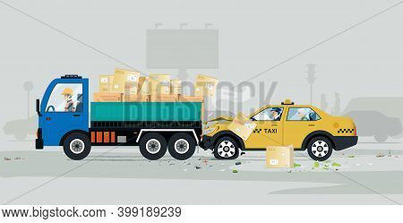 A Taxi Had An Accident In The Back Of A Cargo Truck.
