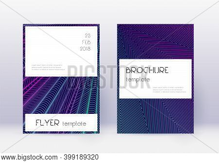 Stylish Cover Design Template Set. Neon Abstract Lines On Dark Blue Background. Favorable Cover Desi