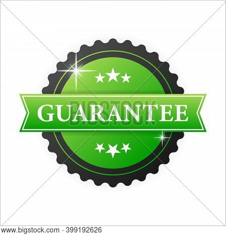 Guarantee Green Rubber Stamp With Green Rubber On White Background. Realistic Object. Vector Illustr