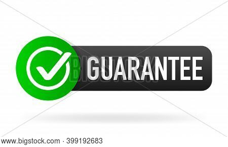 Guarantee Green Rubber Label On White Background. Flat Banner. Vector Illustration.