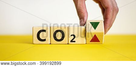 Co2 Changes Symbol. Concept Words 'co2' On Cubes And Blocks On A Beautiful White Background. Male Ha