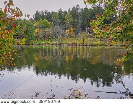 Autumn Landscape With Lake: Calm Lakefront View Of Fall Framed By Green And Red Maple Leaves And Gre