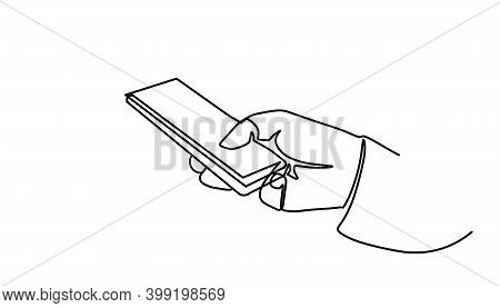 Continuous One Line Drawing Smartphone Phone In Hand. Continuous One Line Drawing Smartphone Phone I