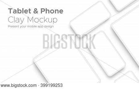 Mobile App Design Tablet Computer And Smartphone Clay Mockup With Space For Text Isolated On White B