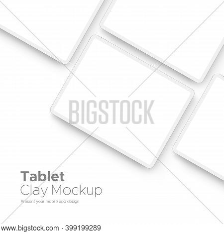 Tablet Computer Clay Mockup For Mobile App Design With Space For Text Isolated On White Background.