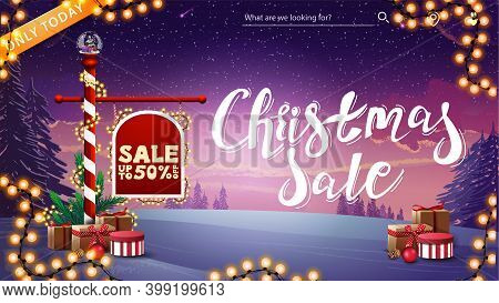 Christmas Sale, Up To 50 Off, Discount Banner With North Pole Sign With Offer Decorated With Present