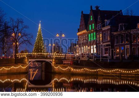 City scenic from the city Dokkum in christmas time in the Netherlands