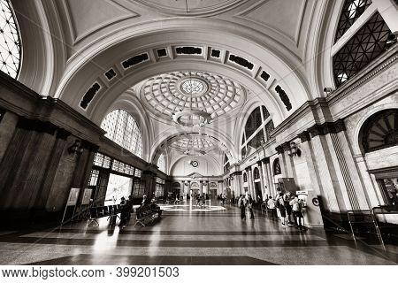 BARCELONA, SPAIN – MAY 13, 2019: Barcelona Estacio de Franca train station interior in Spain.
