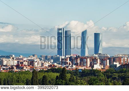 Madrid rooftop view of the city skyline with business district skyscrapers in Spain.
