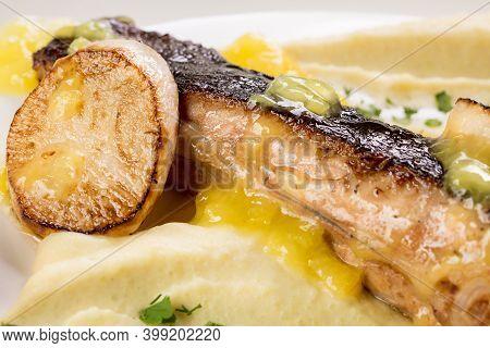 Black Sea Flounder Steak With Fried Daikon And Mashed Potatoes