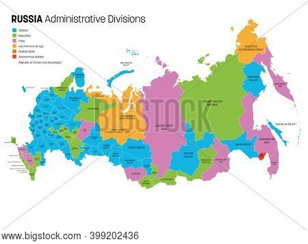 Political Map Of Russia, Or Russian Federation Divided By Types Of Federal Subjects - Republics, Kra