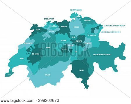 Turquoise Blue Political Map Of Switzerland. Administrative Divisions - Cantons. Simple Flat Vector