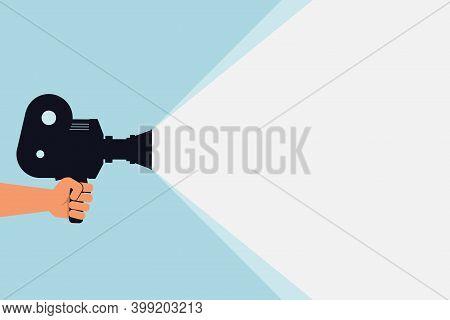 Cinema Movie Festival Poster. Hand Videooperator Holds Vintage Movie Camera. Cinema Background. Film