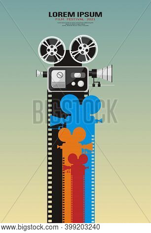 Cinema Movie Festival Poster. Movie Camcorder With Color Filmstrips. Retro Cinema Background With Pl