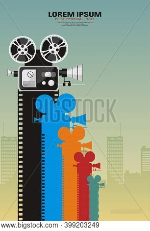 Detailed Retro Movie Camera With Color Film Strips On Futuristic Cityscape Background. Film Poster T
