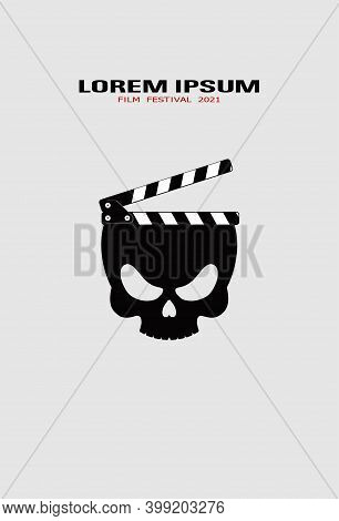 Template For Festival Horror Movie. Zombie Skull With Clapper. Horror Movie Logo Template, Icon, Sym
