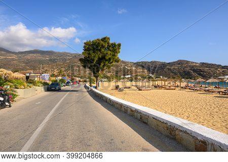 Ios, Greece - September 20, 2020: Road Along Mylopotas Beach, A Popular Tourist Destination On Ios I