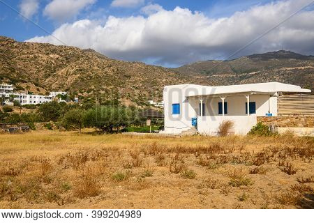 Beautiful Cycladic Architecture Near Mylopotas Beach On Ios Island. Cyclades, Greece