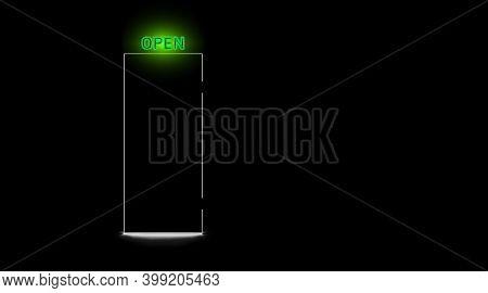 Black Closed Door And Neon Open Green Lamp, Dark Background. Realistic Light Silhouette Slit Doorway