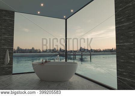 3d Rendering Of Elegant Bathroom With Freestanding Bathtub In Front Of Frozen Lake