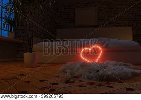 3d Rendering Of Lighten Heart Shape Laying At Edge Of The Bed  In Modern Brick Bedroom At Night