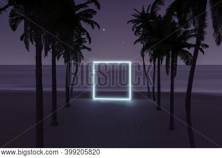 3d Rendering Of Lighten Square Shape On Beach Environment And Palm Avenue
