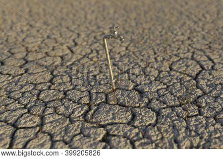 3d Rendering Of Dry Earth Landscape With Spigot In The Evening Sunlight. Concept Of Water Shortage