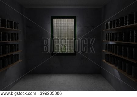 3d Rendering Of A Concrete Air-raid Shelter With Wooden Shelves And A Stock Of Cans