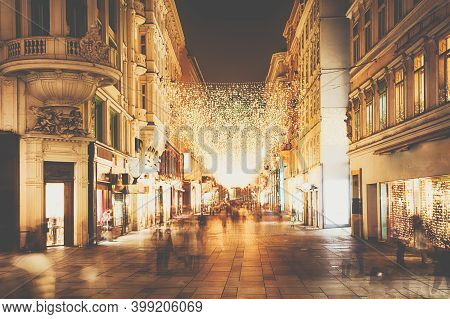 Vienna Kohlmarkt Street During Night And Christmas Time. Most Exclusive Shopping Street In The Downt