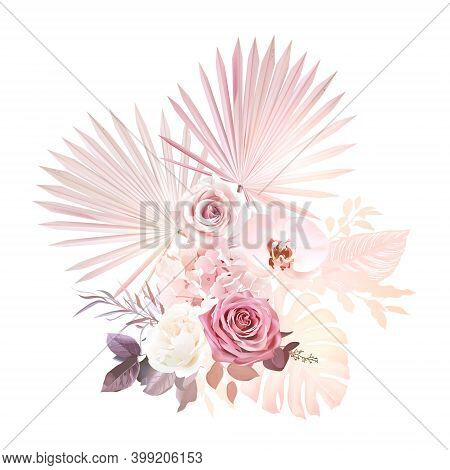 Trendy Dried And Colored Tropical Vector Bouquet. Wedding Blush Pink, Mauve Rose, White Orchid, Hydr
