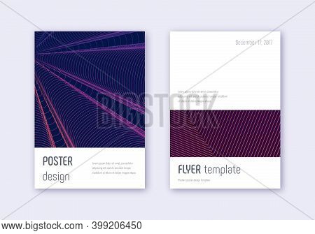 Minimalistic Cover Design Template Set. Violet Abstract Lines On Dark Background. Eminent Cover Desi