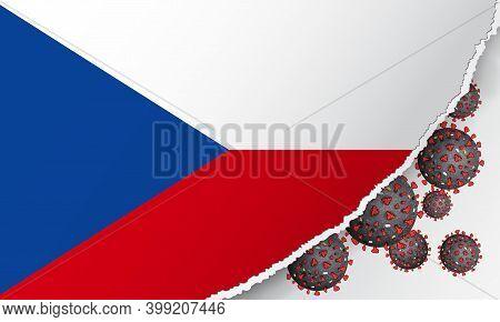 Flag Of Czech Republic With Outbreak Coronavirus Covid-19. Banner With The Spread Of Coronavirus 201
