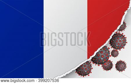 Flag Of France With Outbreak Deadly Coronavirus Covid-19. Banner With The Spread Of Coronavirus 2019