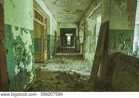 Belarus. Abandoned School In Chernobyl Zone. Chornobyl Catastrophe Disasters. Dilapidated House In B