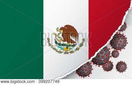 Flag Of Mexico With Outbreak Deadly Coronavirus Covid-19. Banner With The Spread Of Coronavirus 2019